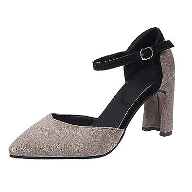 723a4e99c167bc Chaussures à Lacets à la Mode pour Femmes à Talons Hauts Bout Pointu Chaussures  de Travail