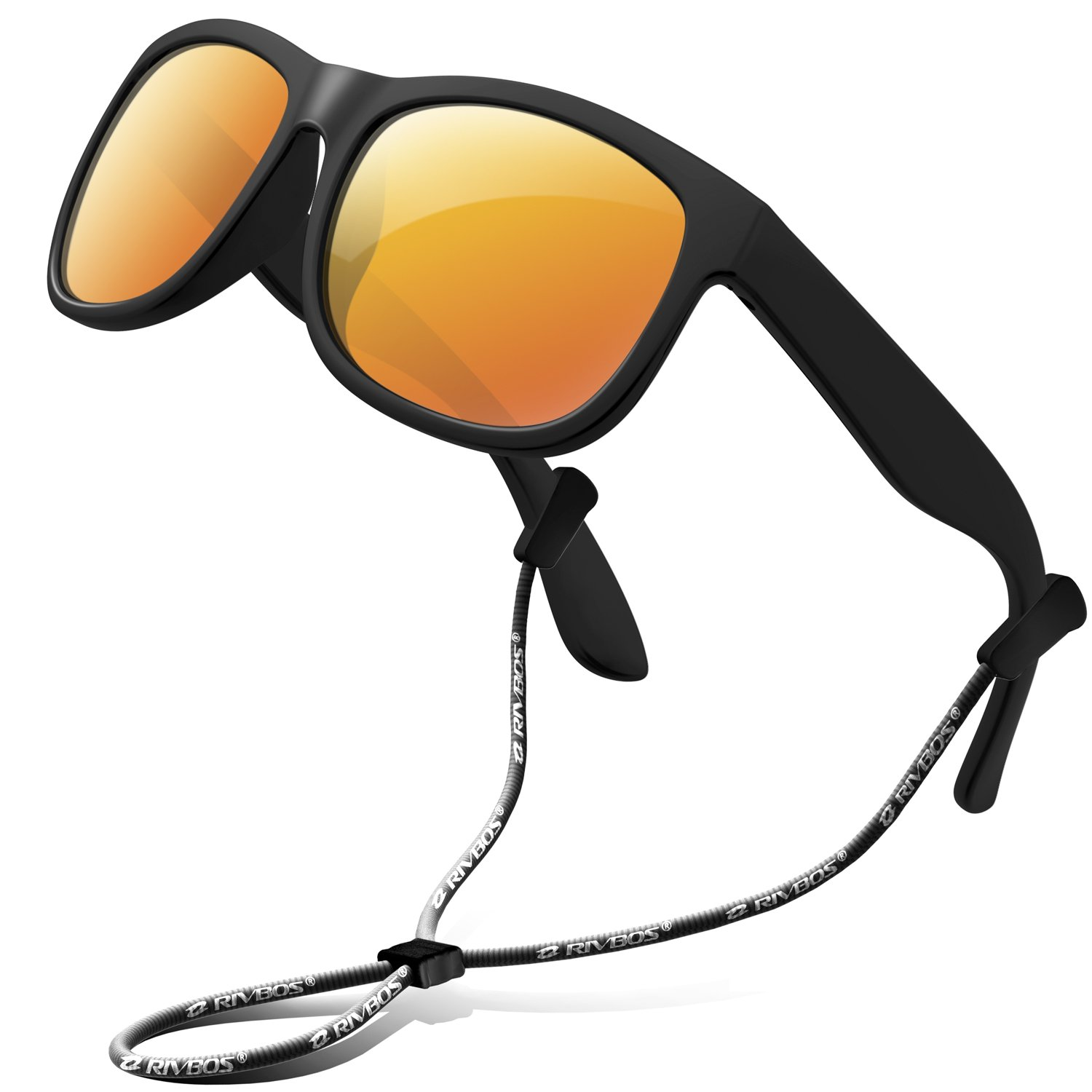 5fe29c634e2 Amazon.com  RIVBOS Rubber Kids Polarized Sunglasses With Strap Glasses  Shades for Boys Girls Baby and Children Age 3-10 RBK023 (Black Coating  Lens)  ...