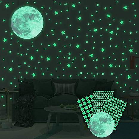 334 Pegatinas Brillantes En La Oscuridad Estrellas Luminosas Y Luna Pegatinas De Pared Para Dormitorio O Regalo De Cumpleaños Pegatinas De Pared Para Cualquier Habitación Brillante Y Realista Kitchen Dining