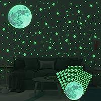 Ahsado Muursticker, zelfklevend, lichtgevende stickers, 334 stuks, lichtgevende sterren, lichtpunten, maan voor je…
