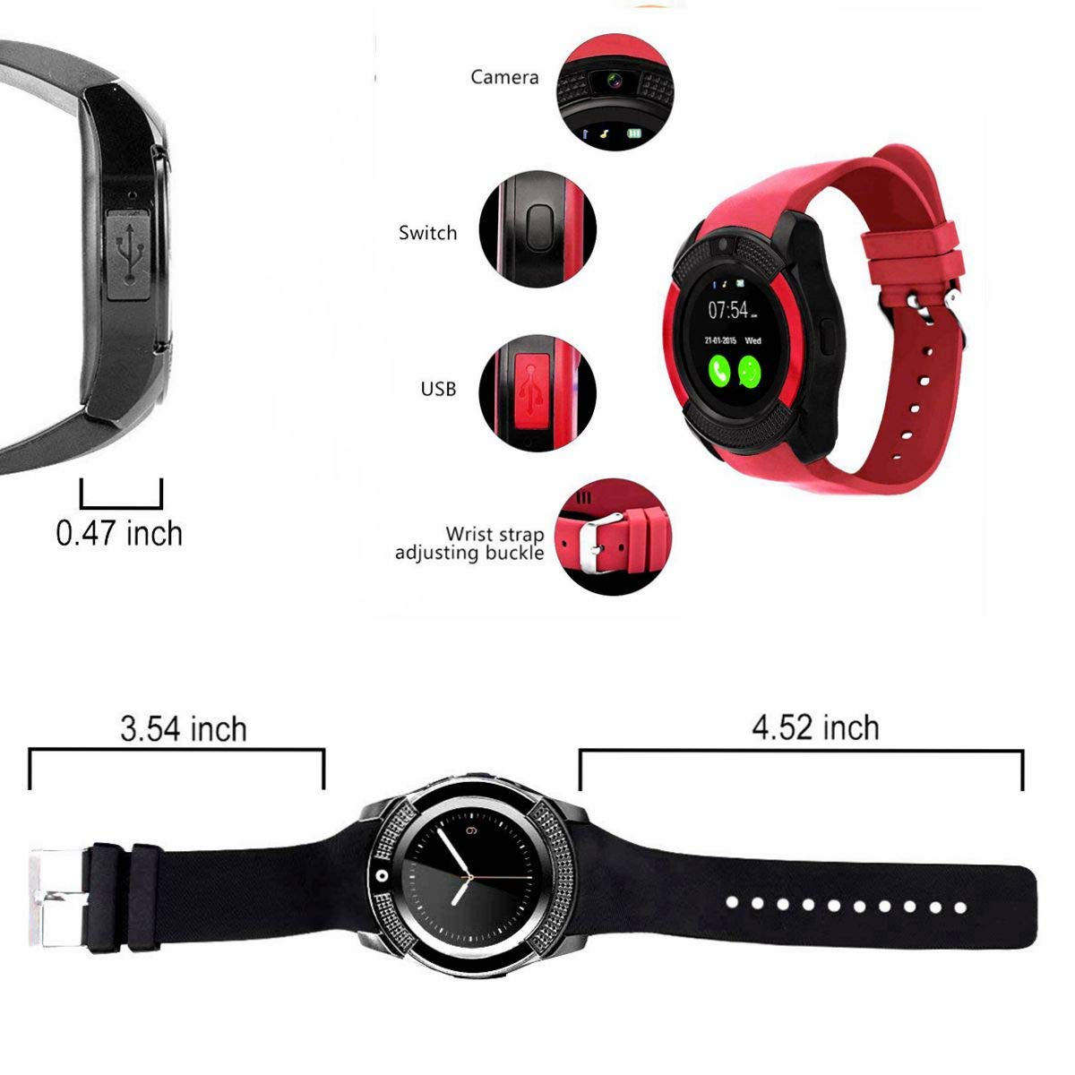 CatShin Smartwatch Android-Reloj Inteligente Mujer Hombre CS05 con Ranura para Tarjeta SIM/TF,Reloj Deportivo Cronómetro Podómetro Monitor de Sueño ...