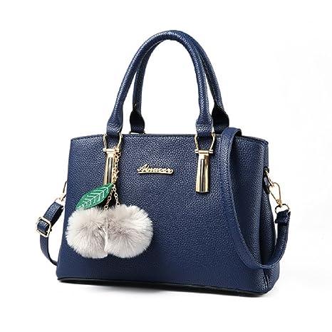 Bolsos Totes Casual - Landove Mujer de Vintage PU Bolsos Carteras de Mano Bolso Hombro Azul