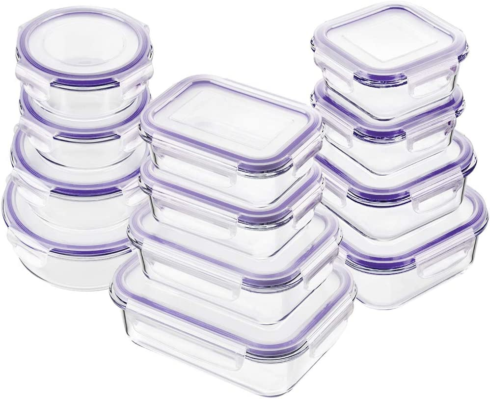 Bayco Glass Food Storage Containers with Lids, [24 Piece] Glass Meal Prep Containers, Airtight Glass Bento Boxes, BPA Free & Leak Proof (12 lids & 12 Containers) - Purple
