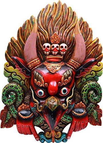 Exotic India Super Large Wrathful Garuda Wall Hanging Mask (Made in Nepal) - Tibetan Buddhist - Wood Statue