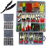 Fishing Lure Kit Hard Lures Minnow Popper Crank Pencil 230Pcs Fish Bait Tackle Fishing Spoons Spinnerbaits Soft Plastic Lure Fishing Frogs with Fishing Plier Review