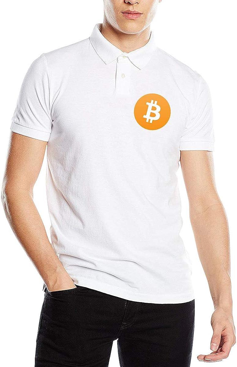 C-JOY Bitcoin Logo Mens Modern Fit Short Sleeve Polo Shirt Tee