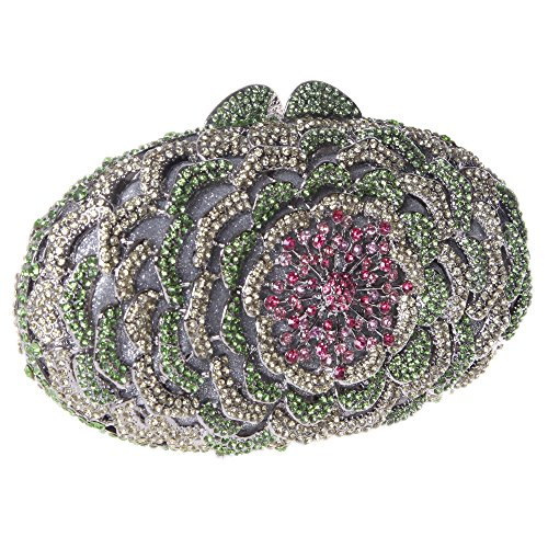 Shining Green Evening Clutch Bonjanvye Crystal Flower Rhinestones Purses Bag with 1SqzTWqd