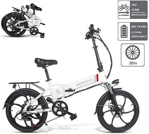 Bicicleta Electricas Plegables, Bicicleta Eléctrica Plegable Con Alarma Antirrobo Luz Delantera Del LED Batería De Iones De Litio De Gran Capacidad (48V 350W 10.4AH) Motor Sin Escobillas,Blanco: Amazon.es: Hogar