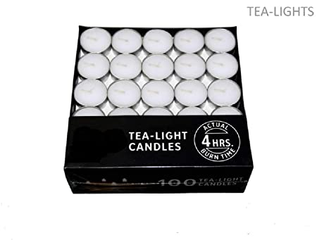 Gifteniaa Aluminum Tealight Candle Wax Candles Unscented Candles (White) Pack of 50