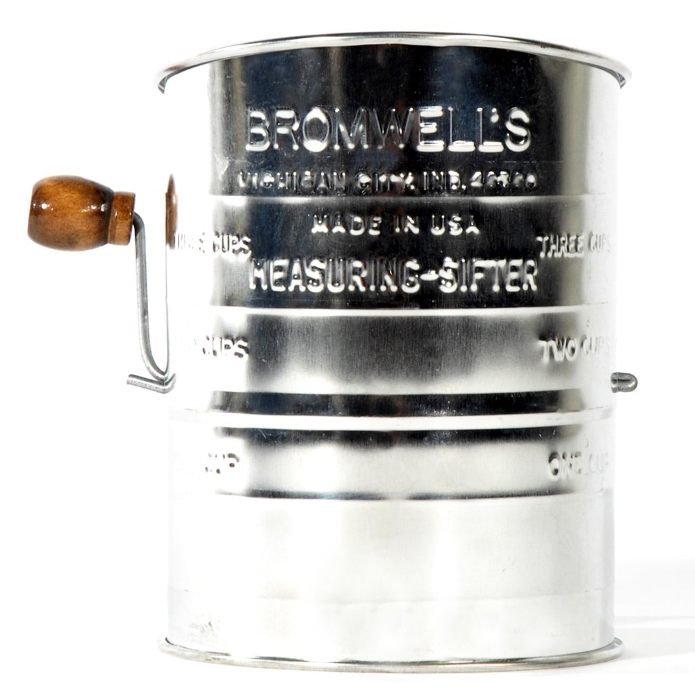 Jacob Bromwell K3001S All-American Stainless Steel 3-Cup, 2-Wire Crank Sifter