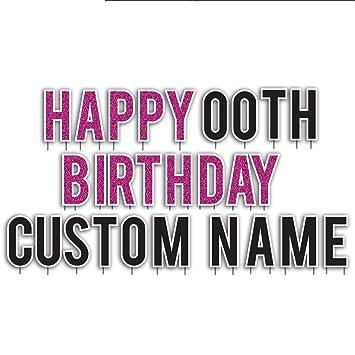 amazon com custom happy birthday yard sign faux pink glitter