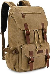 Kattee Canvas Leather Hiking Backpack Travel Rucksack School Bag Vintage College Backpack for Men