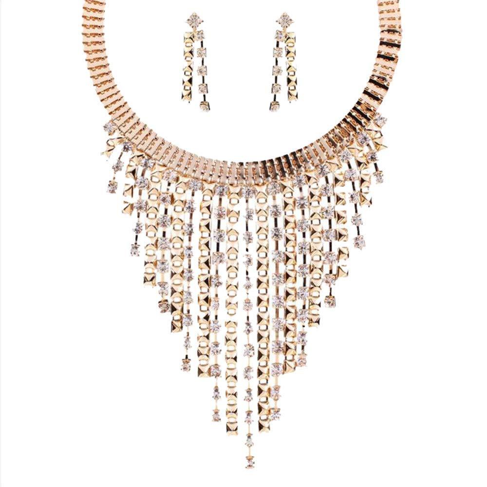 Geetobby Fashion Women Elegant Jewelry Set Multi Layer Rhinestone Statement Tassel Bib Chain Choker Pendant Necklace Jewelry