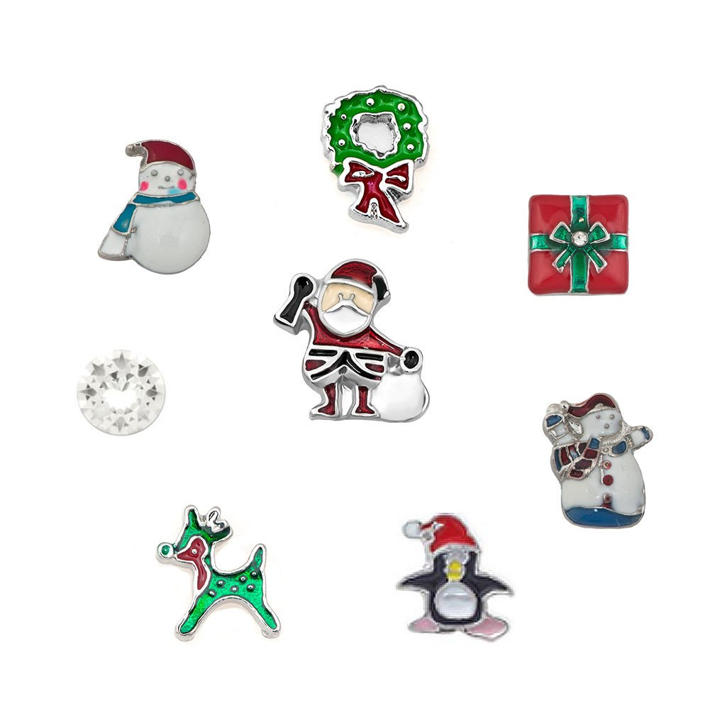 Charmed Craft Christmas Gifts Snowman Charms 8pc For Living Memory Floating Locket Pendant Necklace & Bracelets KSEB_A90_SET72