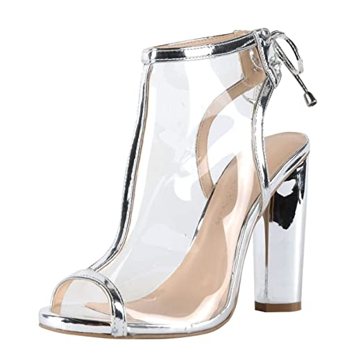 e285acf6f Amazon.com | Wild Diva Womens Open Peep Toe Transparent Metallic Lucite  Lace Up Chunky Heel Ankle Booties Boot 7 Silver | Shoes