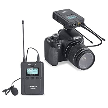 Comica CVM-WM200(C) 96-Channel Full Metal UHF Professional Wireless  Lavalier Microphone System for Canon 6D 600D 5D2 5D3 Nikon Sony
