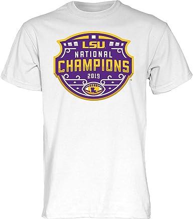 Elite Fan Shop LSU Tigers National Championship Champs Tshirt 2019-2020 Official Logo White