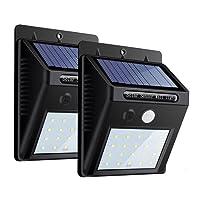 ZEEFO 2Pack 20 LEDs Solarleuchten für Aussen, Superhelle 3 Modi Solarleuchte Garten, Solarlampe für Wände, Auffahrt Innenhof,Hof,Flur,Veranda