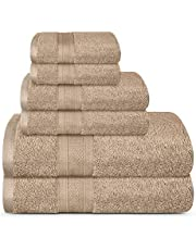 TRIDENT SOFT & PLUSH TOWELS LONG LASTING DURABLE for Daily Use Super Soft Fast Dry & Highly Absorbent Set of 6 Premium Bath flannels- 2 LARGE Bath, 2 Hand, 2 Wash Towels- 500 GSM - Acorn