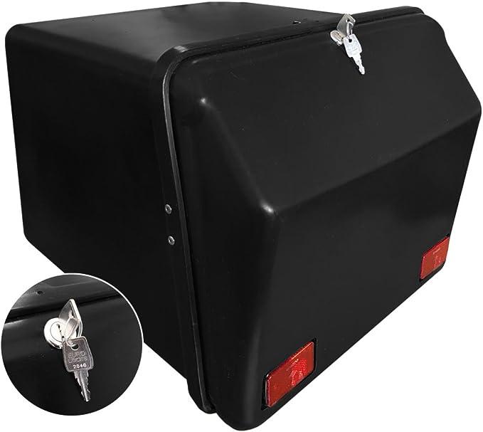 Portaequipajes Moto baúl Reparto Negro/Negro con Reflectantes homologados, Cierre Cerradura: Amazon.es: Coche y moto