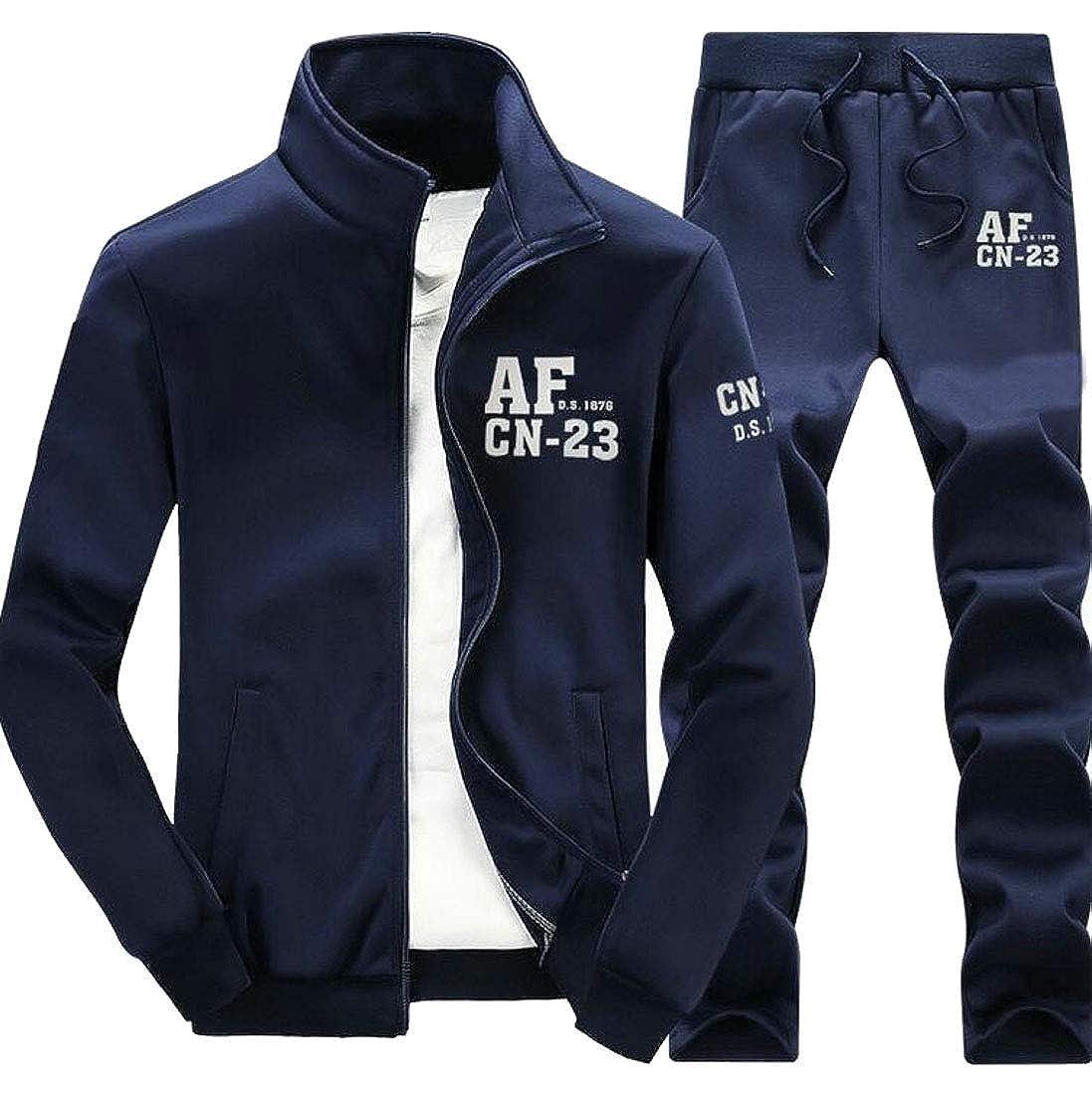 CRYYU Men Casual Sport Jogging Full Zip Sports Jacket /& Pants Tracksuit