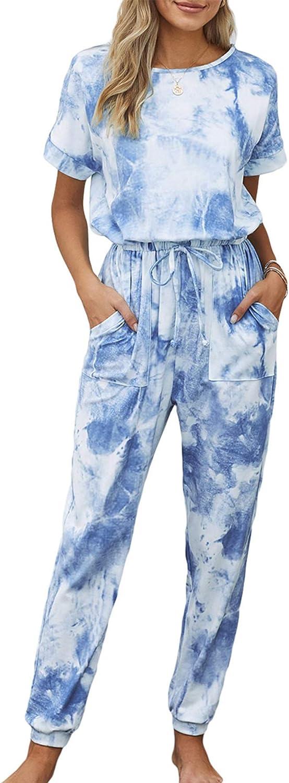 PRETTYGARDEN Women's Short Sleeve Tie Dye Long Pajamas Set One Piece Jumpsuit Loose Sleepwear Night Shirts with Pockets