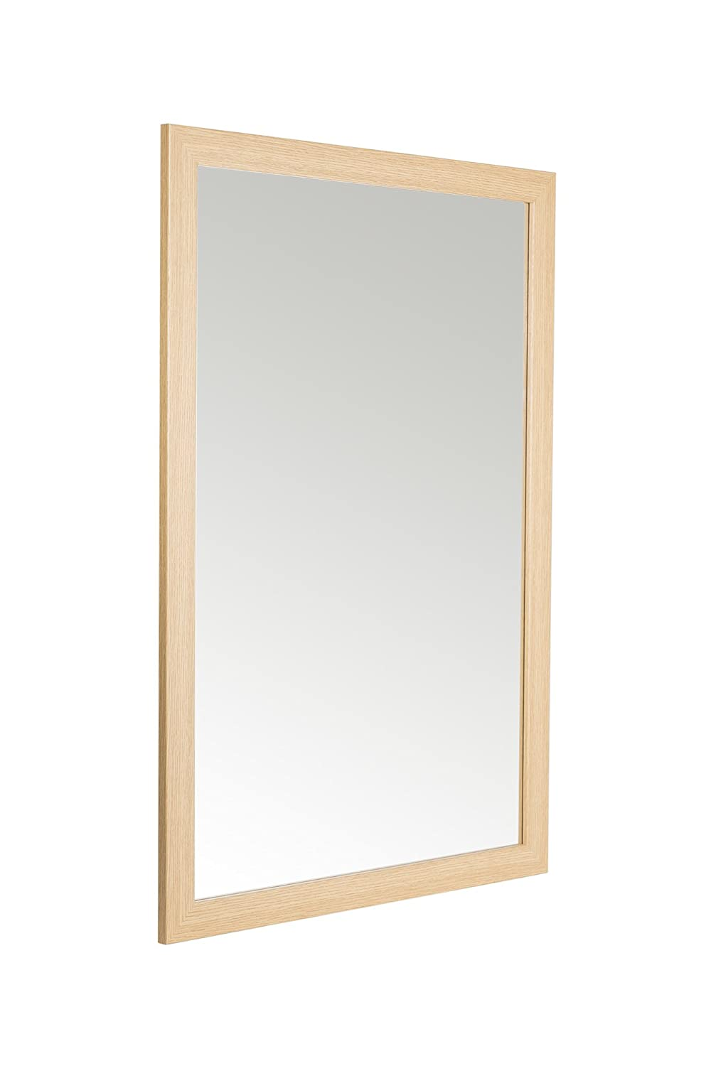 58 x 84cm Oak Effect Framed Mirror with Wall Hanging Fixings