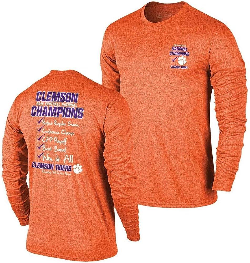 Elite Fan Shop Clemson Tigers National Champs 2018 2019 Checklist Orang Shirts