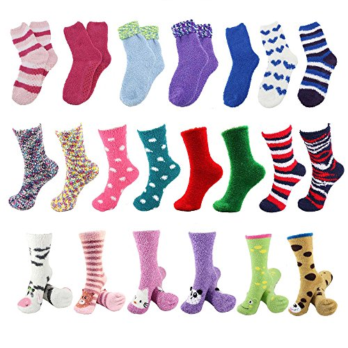 Sock of the Month Club - Fuzzy Cozy Home Socks for Women - 3 pr/mo for 12 Months by BambooMN