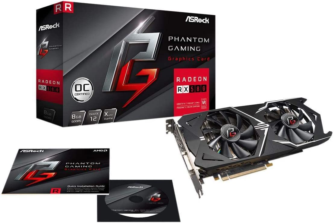 Phantom Gaming X Radeon RX 580 DirectX 12 RX580 8G OC 8GB 256-Bit GDDR5 PCI Express 3.0 x16 HDCP Ready Video Card