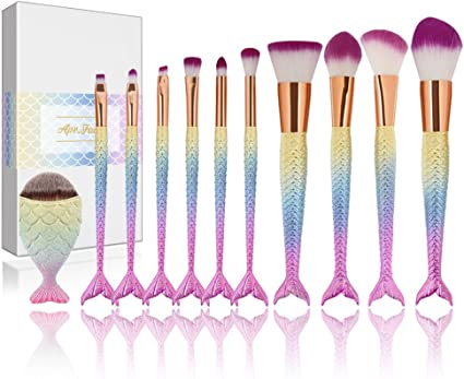 Apr.Fairy - Juego de brochas de maquillaje con diseño de sirena, 11 piezas, juego de maquillaje con suaves cerdas de nailon, con caja, brocha para difuminar, colorete, corrector, ojos, cara y labios: