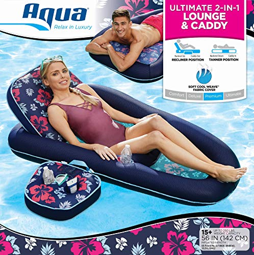 Aqua Campania Ultimate 2 in 1 Recliner & Tanner Lounge with Adjustable Backrest and Caddy, Inflatable Pool Float, Navy ()