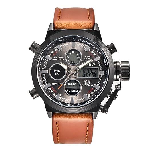 Relojes Reloj de pulsera de acero inoxidable analógico para hombre Reloj militar de cuarzo LED Analógico