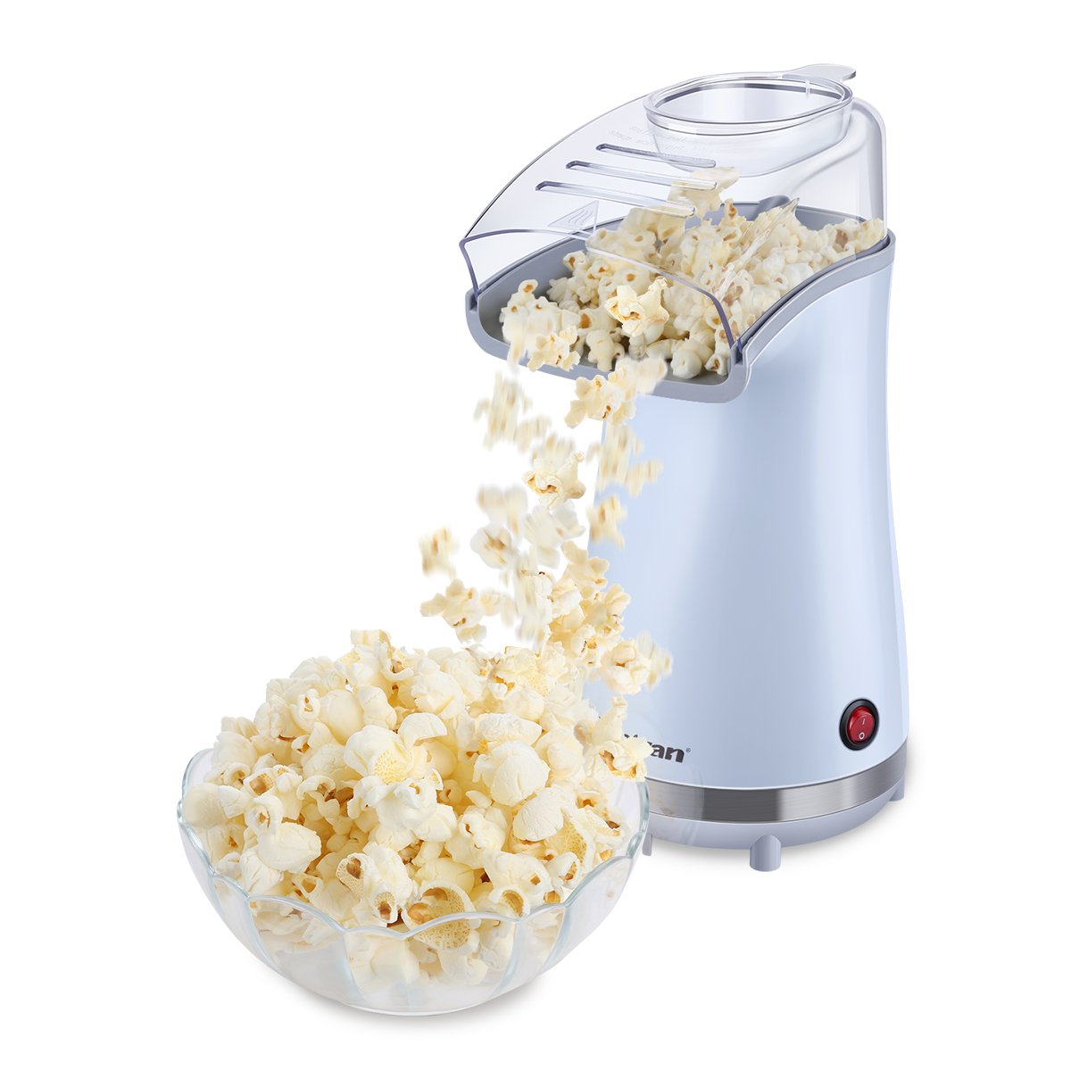 Excelvan Hot Air Popcorn Popper Electric Machine Maker 16 Cups of Popcorn, with Measuring Cup and Removable Lid, White