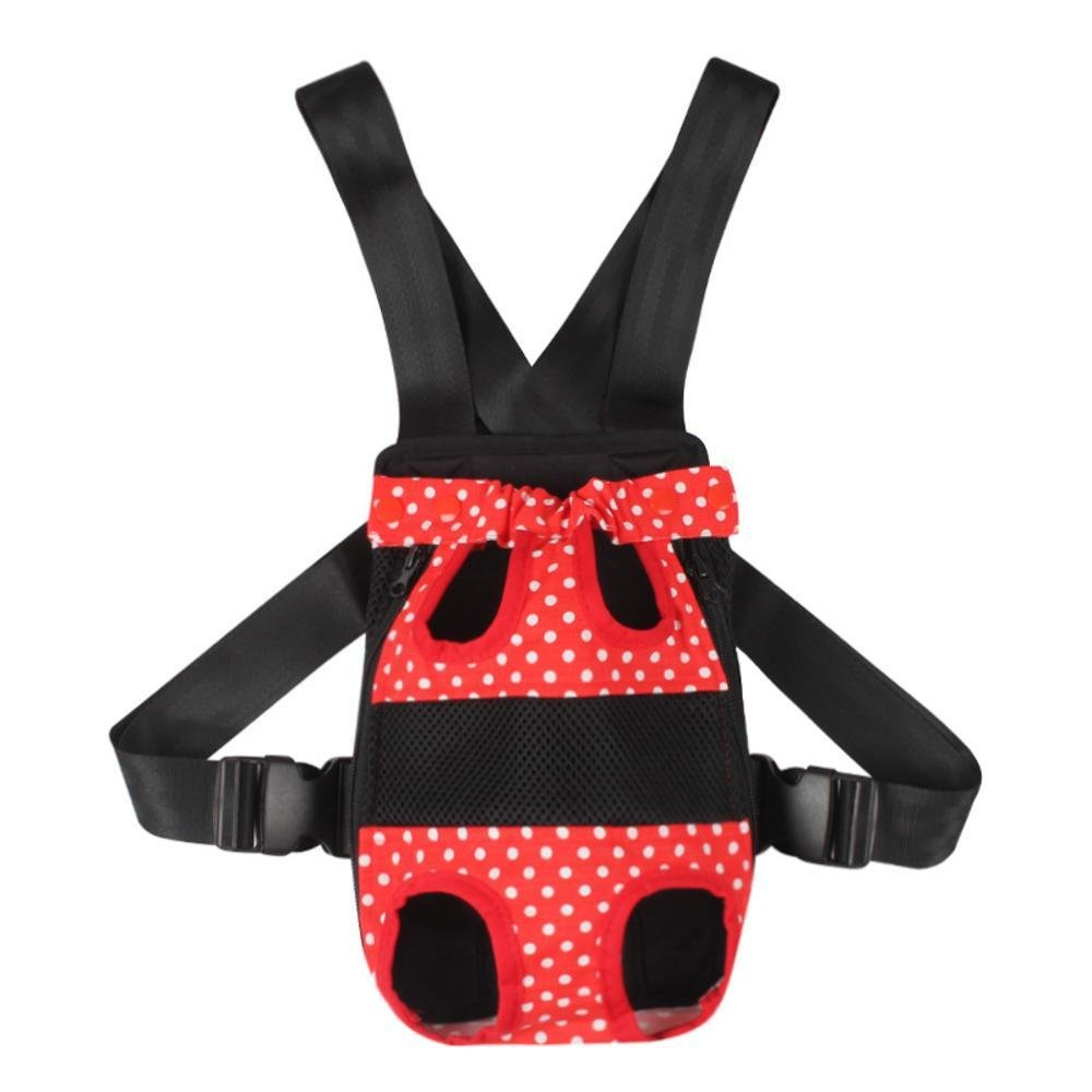 A L A L Daeou Pet Backpack Pet Dog Out of Pocket Bag Double Shoulder pet Bag pet L red Black Wave dot Backpack