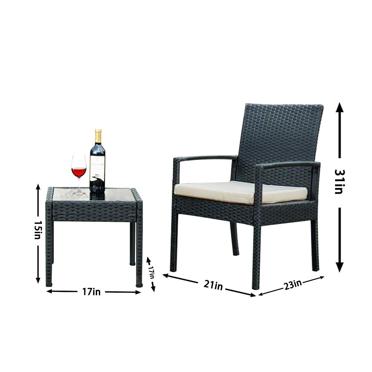 Bartfort Rattan Wicker Garden Furniture Set 3 Piece Patio Outdoor Rattan Patio Set Includes Cushion One Glass Table