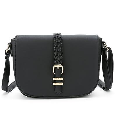 c4235aa730e Casual Small Crossbody Saddle Bags for Women Shoulder Purse Designer  Handbags (Black)
