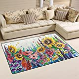 Naanle Oil Painting Yellow Sunflower Area Rug 3'x5', Floral Art Polyester Area Rug Mat for Living Dining Dorm Room Bedroom Home Decorative