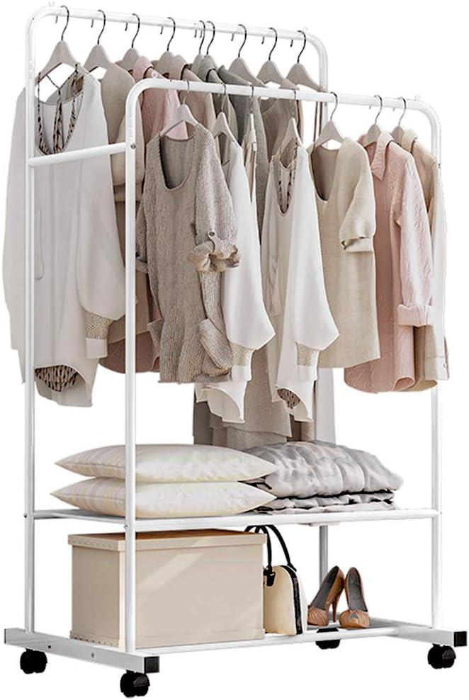 bis 50 kg belastbar Wei/ß mit 2 Kleiderstangen Garderobenst/änder auf Rollen 2 Ablage f/ür Boxen Isyunen Kleiderst/änder