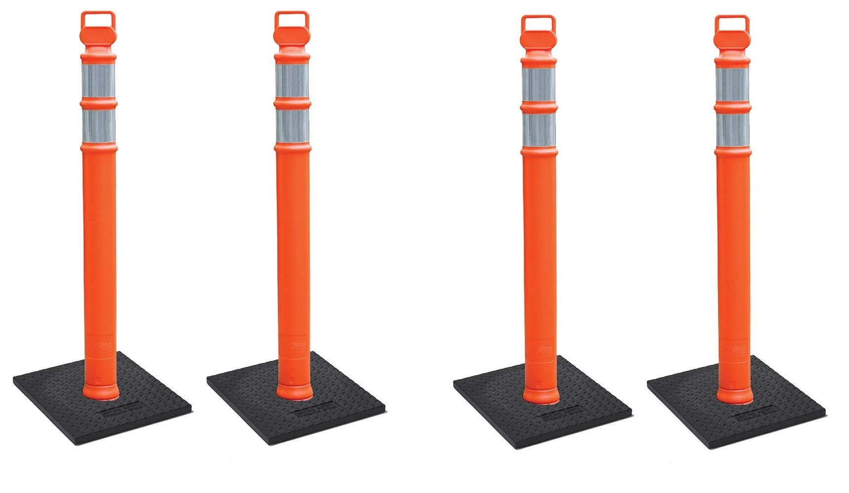 Cortina EZ Grab Delineator 45'' Post, 3'' Hip Collars with 10 lb Base, 03-747RBC-2, Orange (2 X Pack of 2)