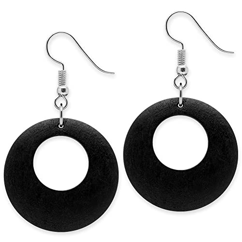 Trendy Blatt Holz Ohrringe schwarz Ohrschmuck Ohrhänger