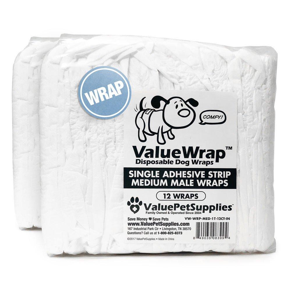 ValueWrap Male Dog Wraps, Single-Tab Medium, 24 Count