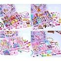 OSOPOLA DIY ヘアビーズおもちゃセット 異なる種類の形状の収納 カラフルなアクリル 子供へのギフトに最適 ハンドメイドヘアピンネックレス ブレスレット ジュエリー作成 ピンク TAR10068