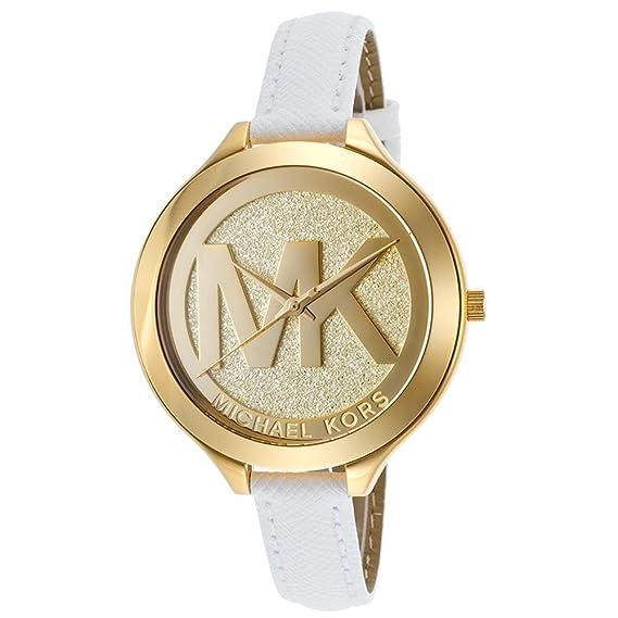 1282ebee11dd6 Michael Kors Uhr MK2389 Damenuhr Gold Leder Armband Slim Weiß MK Logo NEU    OVP