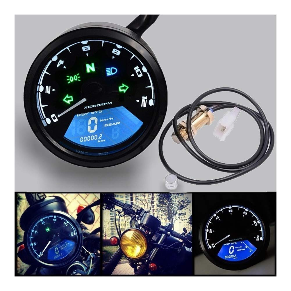 Motorcycle Odometer,Motorcycle Accessories Modified Instrument Speedometer Tachometer Led Light Left and Right High Beam Light Display and Warning Function by LTGJJ