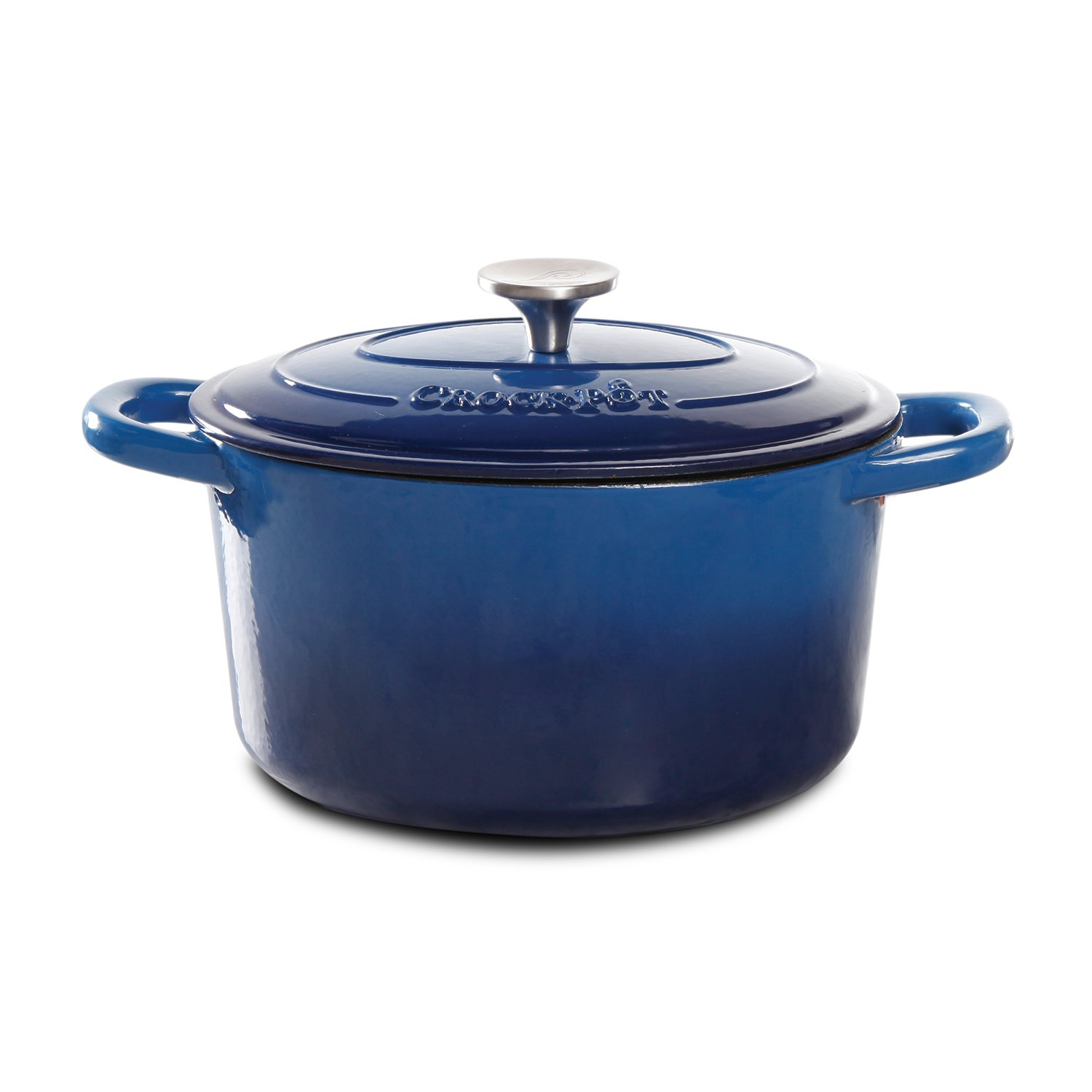 Crock Pot 69142.02 Artisan 5 Quart Enameled Cast Iron Round Dutch Oven, Blue