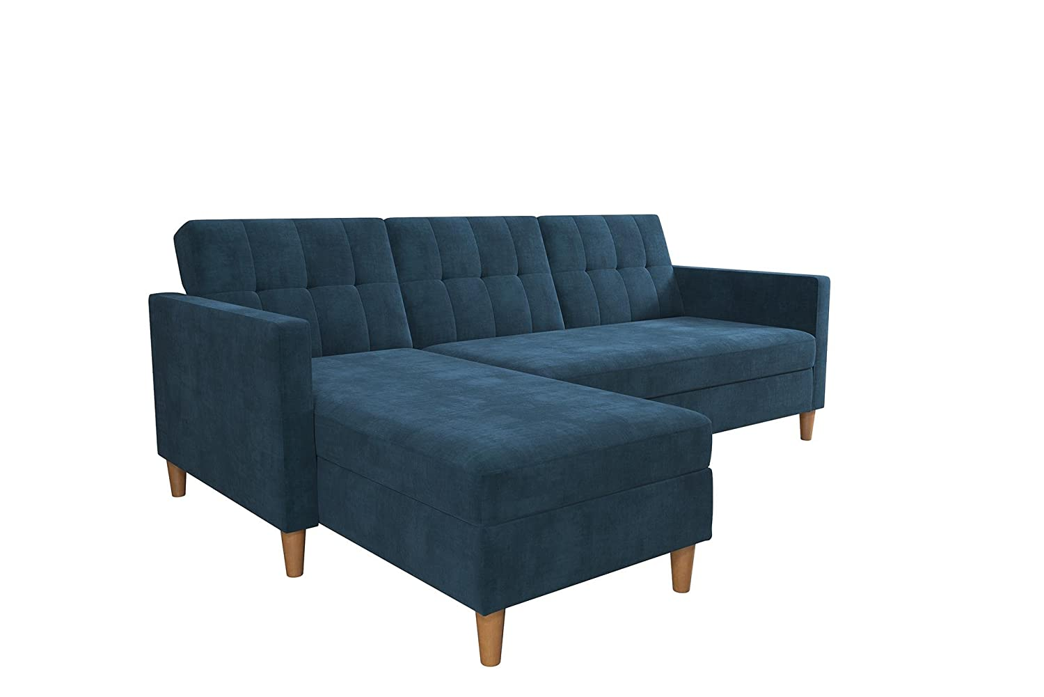 Superb Dhp Hartford Storage Sectional Futon With Interchangeable Chaise And Storage Ottoman Blue Chenille Lamtechconsult Wood Chair Design Ideas Lamtechconsultcom