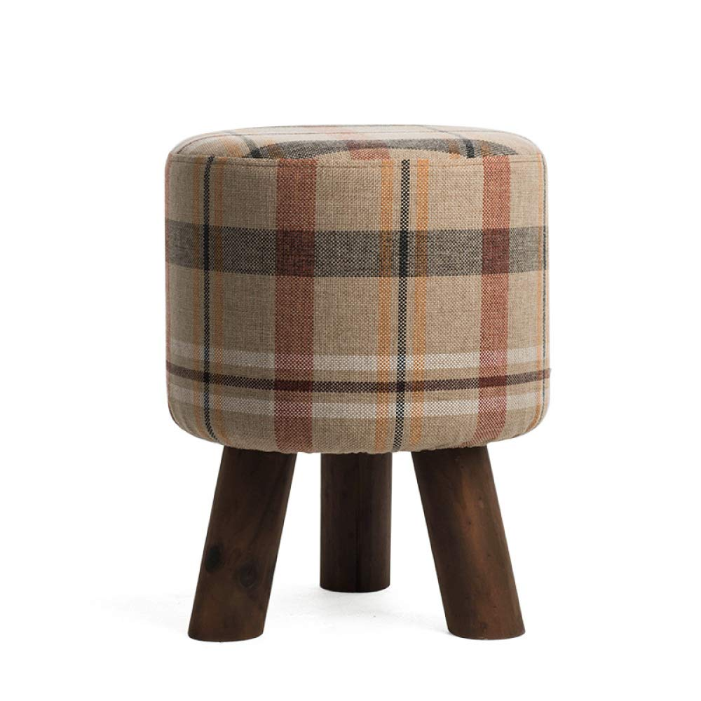 C+313140cm Sofa Stool Pouffe Stool Change shoes Stool Dressing Stool Solid Wood Cotton Linen Art Living Room Footstool shoes Bench Upholstered,O+45  45  35cm