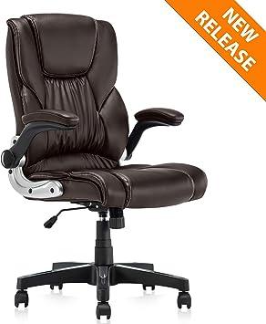 Ergonomic High Back Office PU Leather Chair Swivel Computer Desk Seat Black