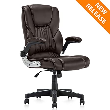 YAMASORO Ergonomic Office Chair with Flip up Arms and Wheels Executive Office Desk Chairs Leather Black Computer Chairs